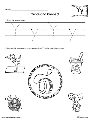Trace Letter Y and Connect Pictures Worksheet