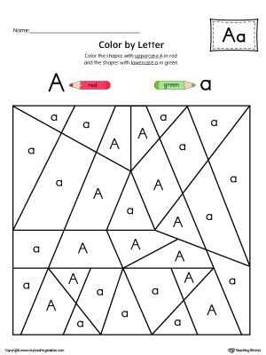 Uppercase Letter A Color-by-Letter Worksheet | MyTeachingStation.com