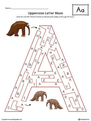 Uppercase Letter A Maze Worksheet (Color)