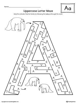 Uppercase Letter A Maze Worksheet