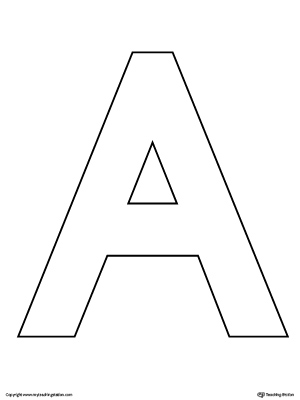 graphic about Printable Letter a titled Uppercase Letter A Template Printable