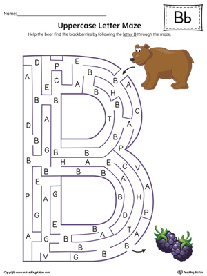 Uppercase Letter B Maze Worksheet (Color)