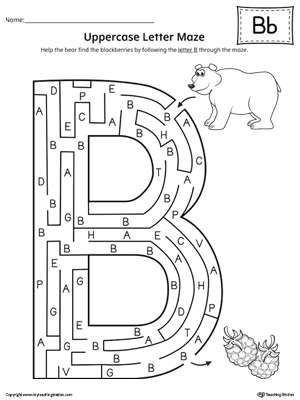Uppercase Letter B Maze Worksheet