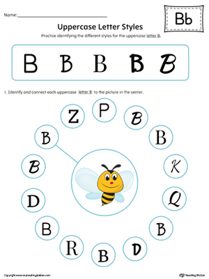 Uppercase Letter B Styles Worksheet (Color)