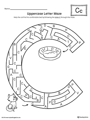 Uppercase Letter C Maze Worksheet