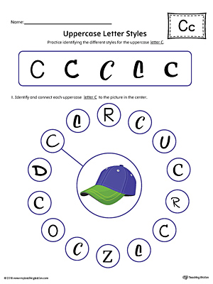 Uppercase Letter C Styles Worksheet (Color)