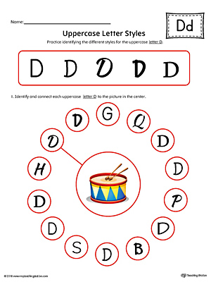 Uppercase Letter D Styles Worksheet (Color)