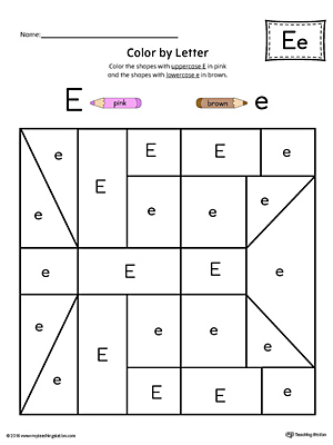 Uppercase Letter E Color-by-Letter Worksheet