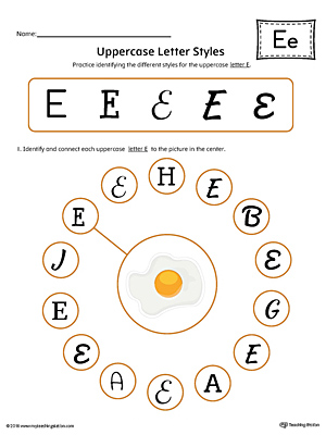 Uppercase Letter E Styles Worksheet (Color)