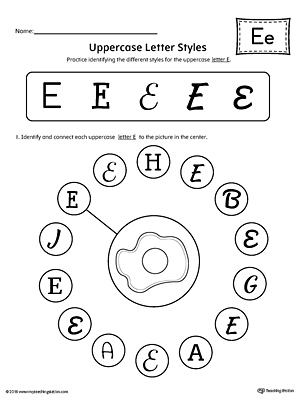 Uppercase Letter E Styles Worksheet