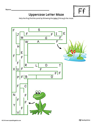 Uppercase Letter F Maze Worksheet (Color)