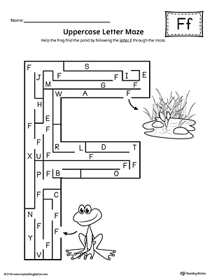 Uppercase Letter F Maze Worksheet