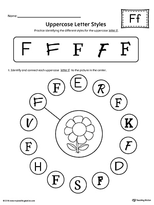 Practice identifying the different uppercase letter F styles with this kindergarten printable worksheet.