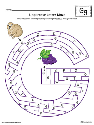Uppercase Letter G Maze Worksheet (Color)
