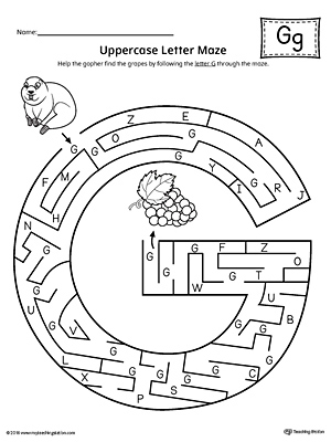 Uppercase Letter G Maze Worksheet