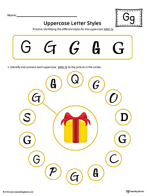 Uppercase Letter G Styles Worksheet (Color)