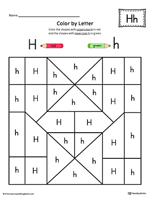 Uppercase Letter H Color-by-Letter Worksheet | MyTeachingStation.com