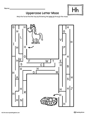 Uppercase Letter H Maze Worksheet