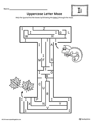 Uppercase Letter I Maze Worksheet