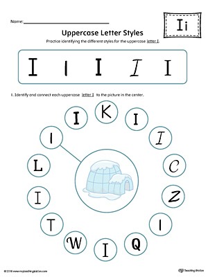 Uppercase Letter I Styles Worksheet (Color)