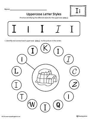 uppercase letter i styles worksheet myteachingstation com