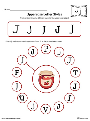 Uppercase Letter J Styles Worksheet (Color)