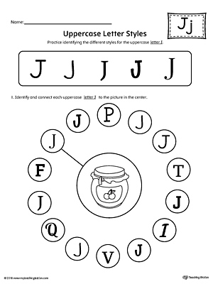 Uppercase Letter J Styles Worksheet