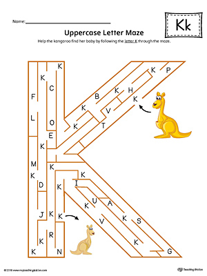 Uppercase Letter K Maze Worksheet (Color)