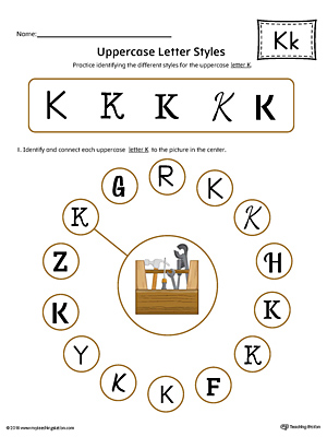Practice identifying the different uppercase letter K styles with this colorful printable worksheet.