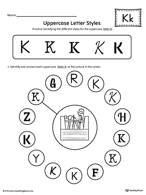 Uppercase Letter K Styles Worksheet