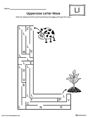 Uppercase Letter L Maze Worksheet