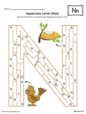 Uppercase Letter N Maze Worksheet (Color)