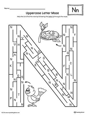 Uppercase Letter N Maze Worksheet