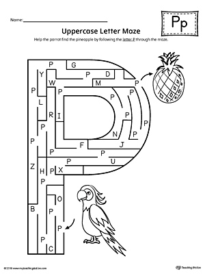 Uppercase Letter P Maze Worksheet