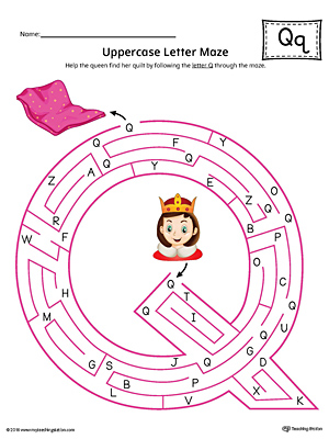Uppercase Letter Q Maze Worksheet (Color)