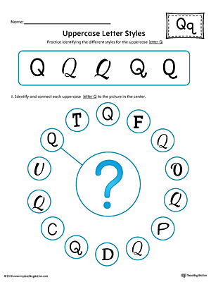 Uppercase Letter Q Styles Worksheet (Color)