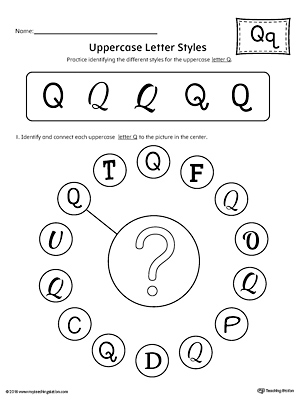 Uppercase Letter Q Styles Worksheet | MyTeachingStation.com