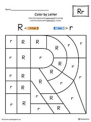 Uppercase Letter R Color-by-Letter Worksheet