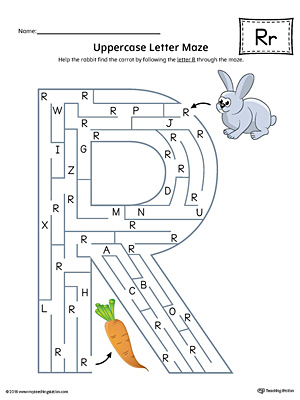 Uppercase Letter R Maze Worksheet (Color)