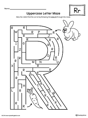 Uppercase Letter R Maze Worksheet | MyTeachingStation.com