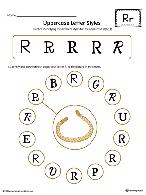 Uppercase Letter R Styles Worksheet (Color)