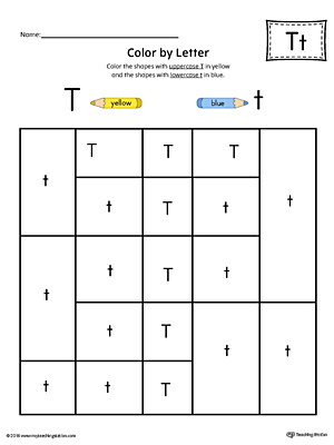 Uppercase Letter T Color-by-Letter Worksheet