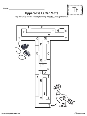 Uppercase Letter T Maze Worksheet