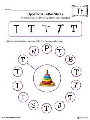 Uppercase Letter T Styles Worksheet (Color)