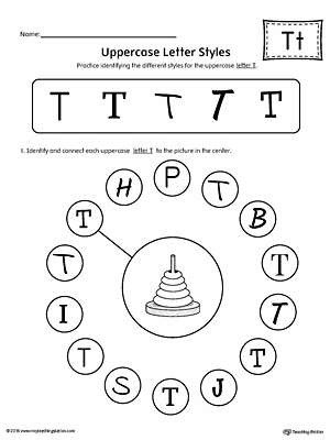 Uppercase Letter T Styles Worksheet