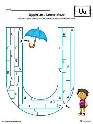 Uppercase Letter U Maze Worksheet (Color)