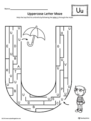 Uppercase Letter U Maze Worksheet