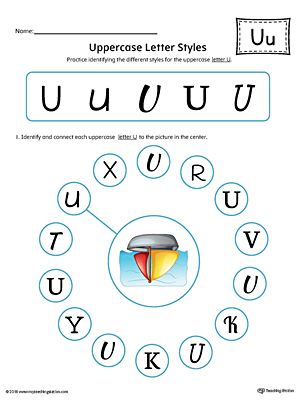 Uppercase Letter U Styles Worksheet (Color)