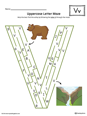 Uppercase Letter V Maze Worksheet (Color)