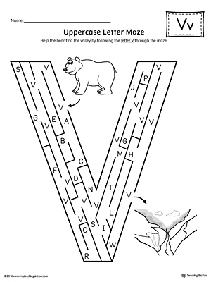 Uppercase Letter V Maze Worksheet